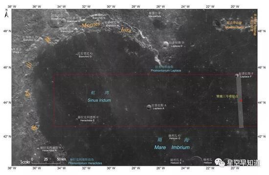 """""""嫦娥3号""""着陆点暗示图(右侧浅色长条) 来源:中科院国家天文台"""