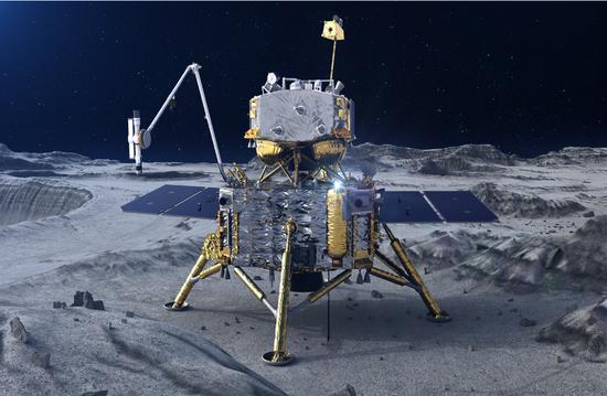 嫦娥五号探测器在月面做事暗示图。(图片来源:国家航天局)
