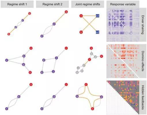 图1。多个稳态转换事件间的能够关系:驱动因子共享、多米诺效答和暗藏逆馈。
