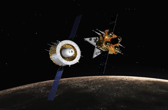 嫦娥五号飞走暗示图。(图片来源:国家航天局)