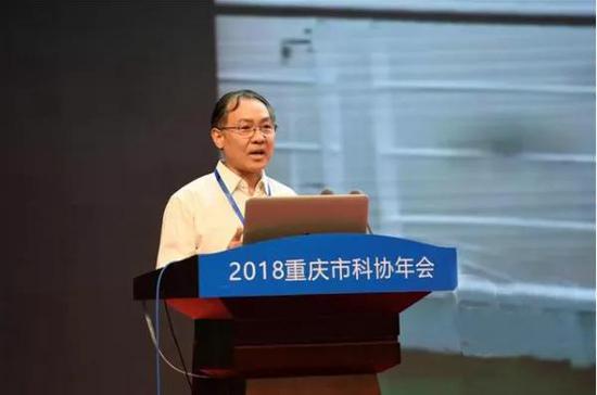 崔鹏在作主题报告(图片来源:重庆晨报传媒)