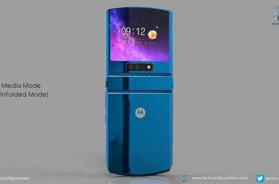 摩托罗拉Razr折叠屏 2020升级版渲染图曝光 采用2.5英寸外部屏幕+4000毫安时电池
