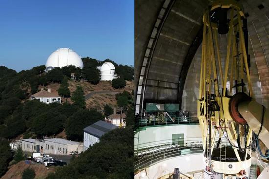 图2 位于加州大学利克天文台(Lick Observatory)的三米谢恩望远镜(Shane telescope)的外部与内部照片。法伯尔曾任加州大学天文台台长多年。