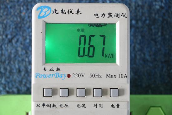 洗涤耗电量0.67度
