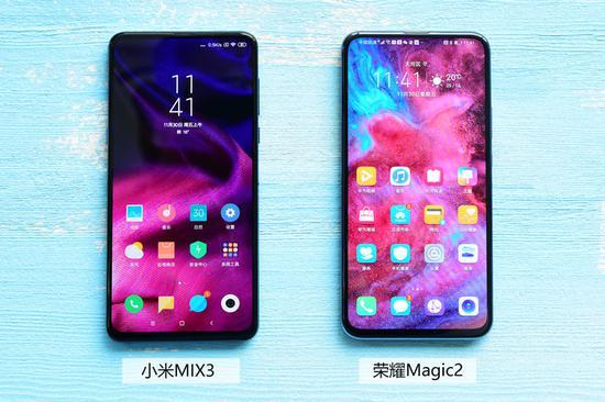 ▲荣耀Magic2/幼米MIX3正面设计