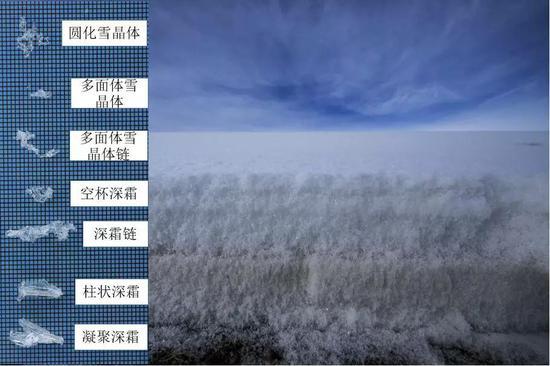 天山山区积雪剖面和各雪晶体的形状(摄影: 范书财2019年1月10日拍摄于新疆奇台县境内山区)