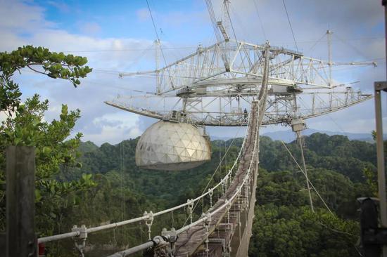 """悬吊在""""大锅""""上方的三角平台和收纳无线电发射机等装置的圆屋。图片来源:阿雷西博天文台"""