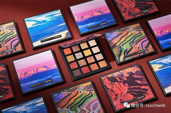 完美日记与《中国国家地理》联名推出的十六色眼影盘