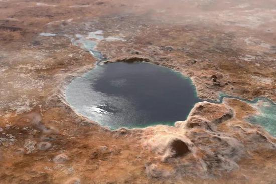杰泽罗撞击坑湖水充盈年代的假想图 | NASA
