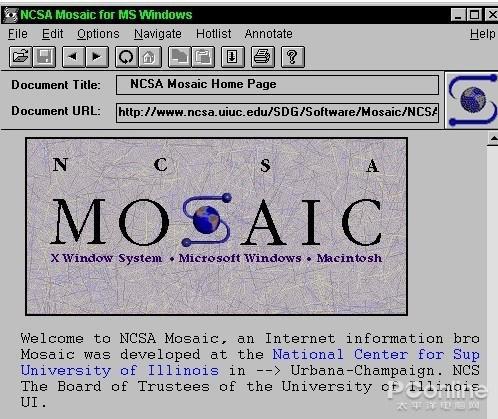 图2 Mosaic浏览器