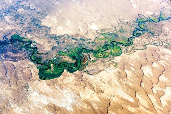 塔里木河航拍| 塔里木盆地的生命之河。摄影师@赵来清