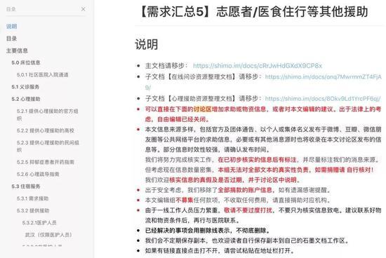 Simo志愿团队用石墨文档制作的疫情信息汇总
