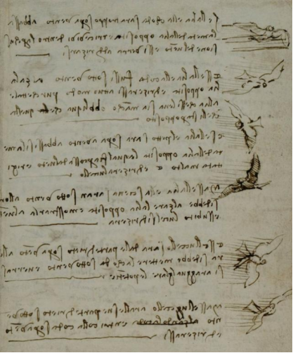 达芬奇的鸟类飞行手稿 (图片来源: kknews.cc)