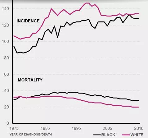 美国乳腺癌发生率和死亡率的变化趋势(图源:komen.org)