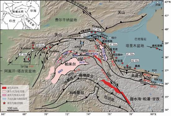 当代帕米尔高原地区简要地形图| 帕米尔高原今朝已经和天山西南端碰到一首,堵截了塔吉克盆地与塔里木盆地之间的相关。