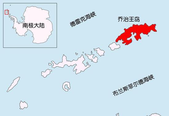 乔治王岛(图中红色区域)。  图片来源:Apcbg/Wikicommons