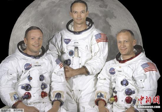 """""""阿波罗11号""""的三位宇航员,从左至右,分别是阿姆斯特朗,柯林斯和奥尔德林。"""