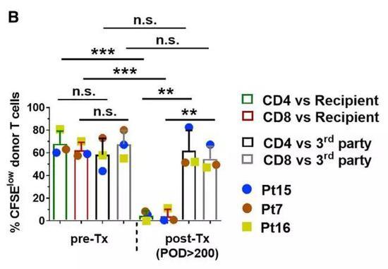 以脾中免疫细胞为对照检查了供者T细胞的特征