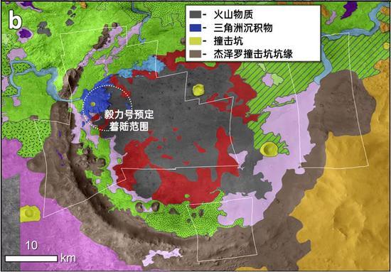 杰泽罗撞击坑一带的地质单元图,灰色区域全部都是火山物质