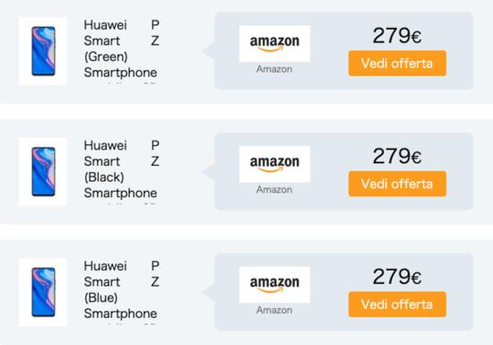 华为P Smart Z售价279欧元(约合人民币2104元)