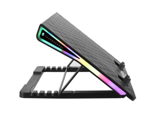 雷神推风洞笔记本散热器:搭载液晶屏,支持RGB灯效