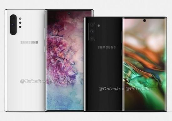 外媒爆料的三星Galaxy Note10系列渲染图:后置四摄像头