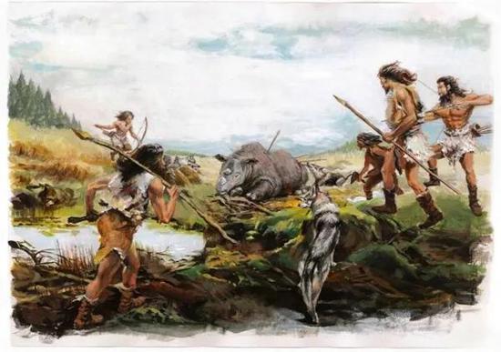 图.5200年前青藏高原东北部马家窑文化先民狩猎印度野牛和苏门答腊犀牛的场景复原图(复原图由董广辉设计、张海岩绘制;版权所有)