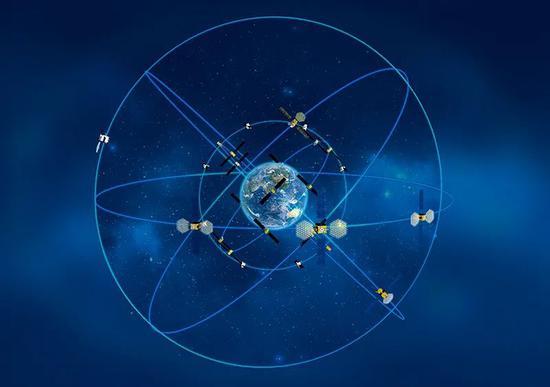 北斗组网模拟图。(中国卫星导航系统管理办公室供图 新华网发)