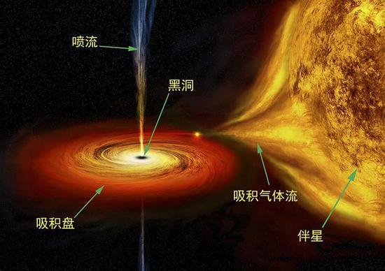 恒星尺度的黑洞系统示意图,喷流来自吸积盘,其直径并不仅局限图中显示的尺度。