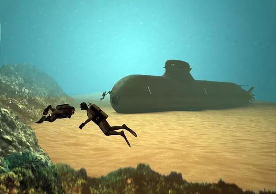 """瑞典海军正在设计中的A26潜艇""""坐沉海底""""概念图"""
