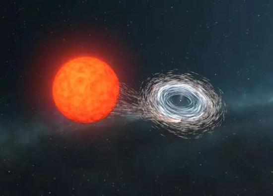 ○艺术构想图:膨胀恒星表面的物质会落向白矮星,并在白矮星周围形成一个快速旋转的物质盘。| 图片来源:ARC Centre of Excellence for Gravitational Wave Discovery