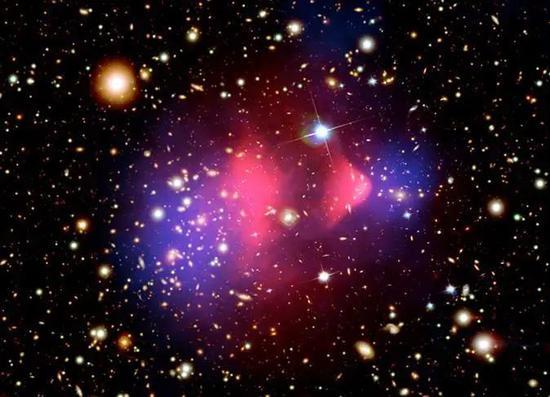 图13 子弹星系团表现两个星系碰撞后的质量分布。粉色来自X射线波段不都雅测,描绘重子物质;蓝色来自弱引力透镜不都雅测,描绘黑物质分布。(X射线图像: NASA/CXC/CfA/M.Markevitch et al。; 光学图像:NASA/STScI; Magellan/U.Arizona/D.Clowe et al。;引力透镜图像:NASA/STScI; ESO WFI; Magellan/U.Arizona/D.Clowe et al。)