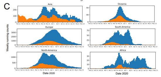 展现D614G变异的新冠病毒株(蓝色)在全球各个大洲成为绝对主流
