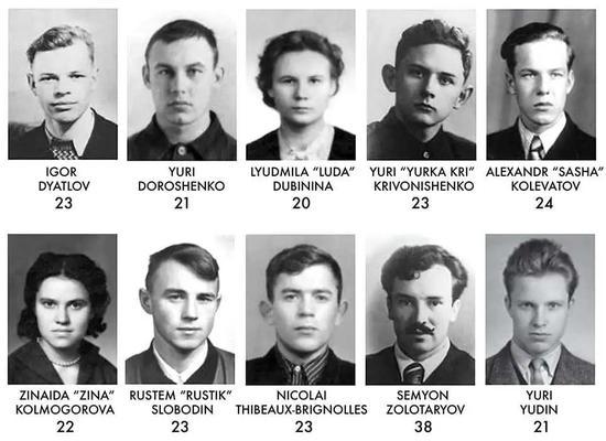 左上为佳特洛夫,右下为幸存者尤丁丨Dyatlov Memorial Foundation