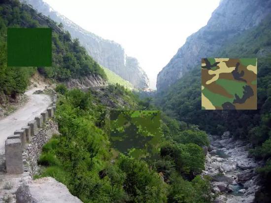 军绿色(左),MARPAT迷彩(中),以及老式迷彩 NATO camo(右)的隐藏效果对比。