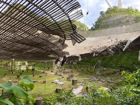 阿雷西博受损情况。图片来源:University of Central Florida