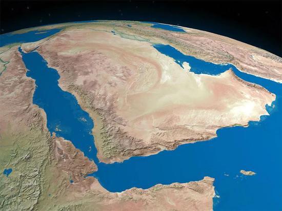 阿拉伯半岛卫星视图的数字化烘托,据信人类在大约5.5万年前从非洲移民到这儿