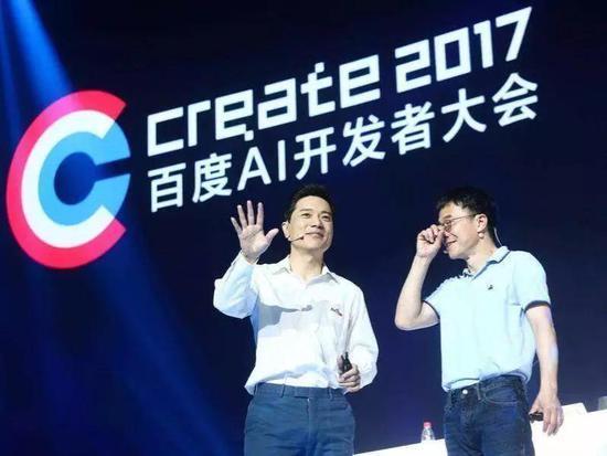 李彦宏(左)和陆奇(右)