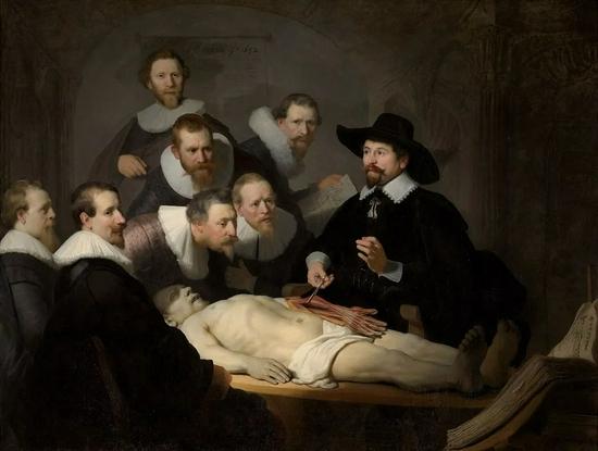 """伦勃朗的名画《杜尔博士的解剖学课》画中的杜尔博士就是因为喜爱郁金香 改姓Tulp(荷兰语""""郁金香"""")"""