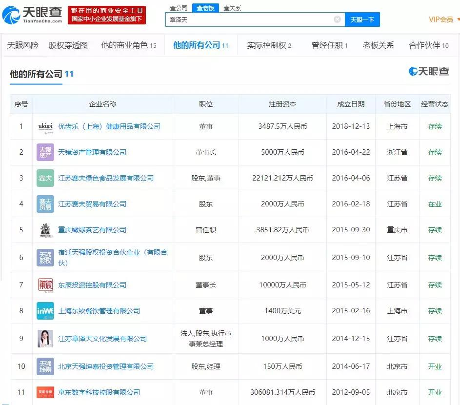 截至4 月10 日,章泽天所有或(曾)任职公司情况。(数据来源:天眼查)