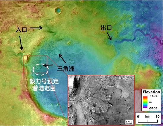 杰泽罗撞击坑中的流水活动遗迹,CTX+HRSC+HiRISE图像合成 | 改编汉化自:Mars 2020第三次选址研讨会Tim Goudge报告