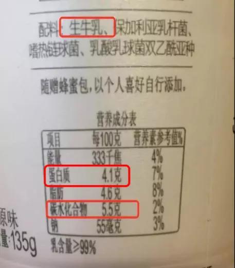 酸奶配料表及营养标签来源丨知乎