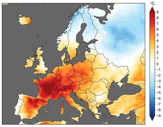 2019年6月25-29日欧洲地区的平均气温异常。相比于1981-2010年同样的5天内的平均气温,包括法国在内的欧洲大部分地区都出现了超过正常水平6-10°C的高温。