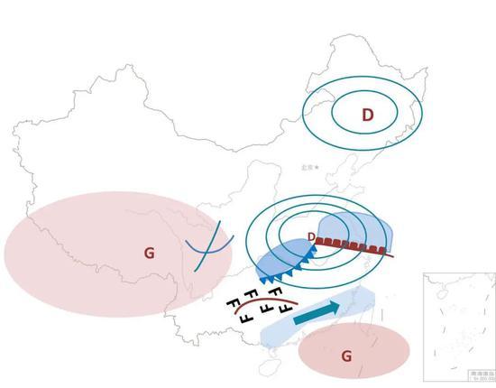 图为影响夏季降水的天气系统。(东北冷涡和江淮气旋为低压系统,用字母D表示;青藏高压和副热带高压都为高压系统,用字母G表示) 图/文 李慧 地图来源:标准地图服务官网 审图号:GS(2016)1569号 自然资源部 监制