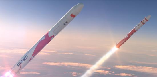 蓝箭航天研制的朱雀一号(右)和朱雀二号(左)运载火箭发射升空的遐想图 蓝箭官网