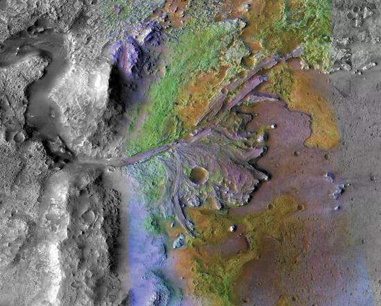 MRO CTX影像和CRISM光谱图像的叠加图,不同颜色代表不同的矿物 | NASA/JPL/JHUAPL/MSSS/Brown University