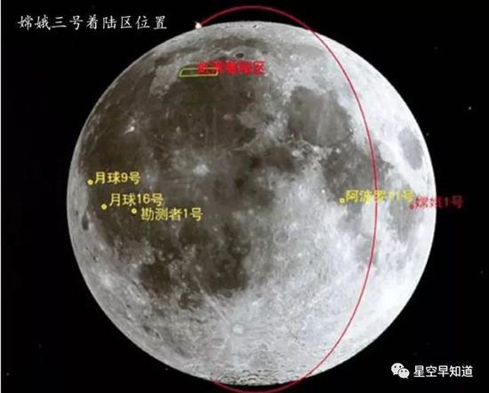 """左上方的""""虹湾""""即为""""嫦娥3号""""的着陆区,着重右侧""""嫦娥1号""""的撞击点,在完善义务后,""""嫦娥1号""""主动撞击了月面 来源:《中国航天》 2014年第1期"""