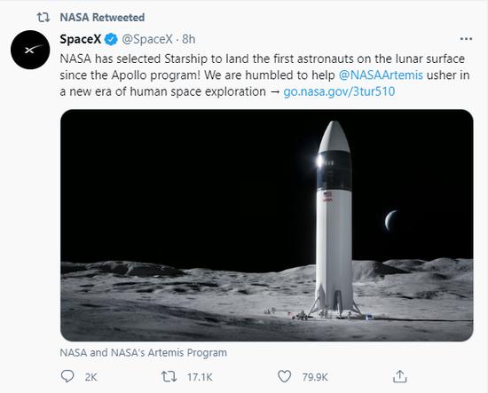 """马斯克""""大喜""""日:击败贝索斯中标NASA项目 狗狗币单日暴涨200%"""