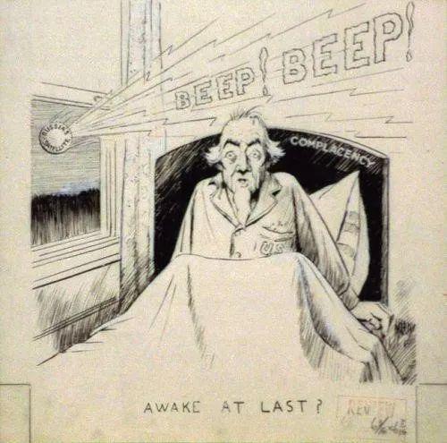 描述美国被Sputnik惊醒的讽刺漫画,1957年