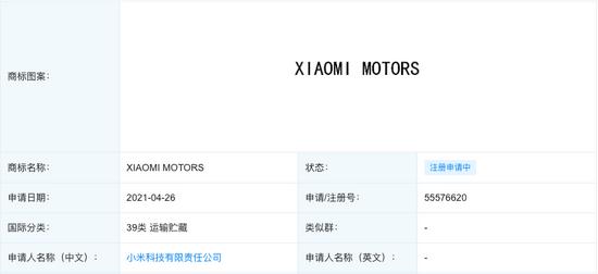 ▲小米申请汽车相关商标